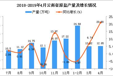 2019年1-4月云南省原盐产量为50.34万吨 同比增长3.73%