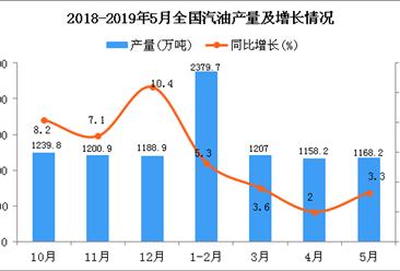2019年1-5月全国汽油产量为5918.7万吨 同比增长4%