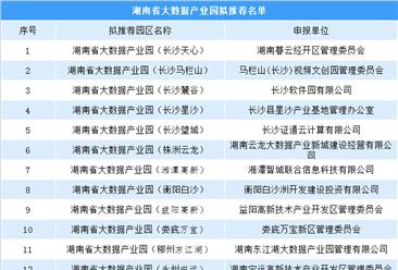 2019年湖南省大數據產業園擬推薦名單出爐:共12個園區入選(附名單)