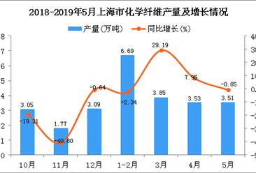 2019年1-5月上海市化学纤维产量为17.63万吨 同比增长5.95%