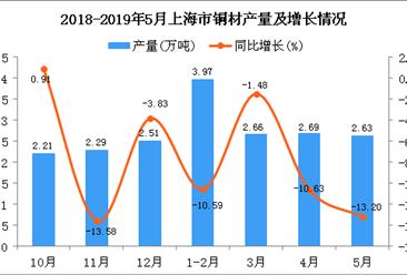 2019年1-5月上海市铜材产量为12万吨 同比下降8.95%