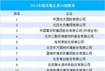 2019中国环境企业50强榜单出炉:10家企业营收超100亿(附榜单)