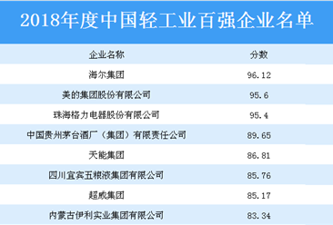 2018年度中国轻工业百强企业揭晓:海尔集团等200家企业上榜(附全名单)