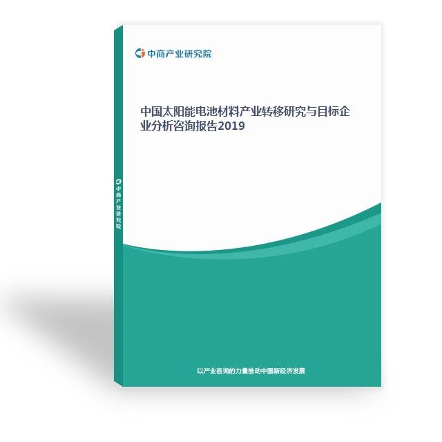 中國太陽能電池材料產業轉移研究與目標企業分析咨詢報告2019