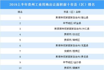 2019上半年贵州省城市产业投资热度(TOP10)排名:独山县位居榜首(土地篇)
