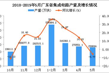 2019年1-5月广东省集成电路产量为1247595.4万块 同比增长4.86%