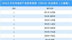2019上半年河南省产业投资热度(TOP10)区县排名:长垣县位居榜首(土地篇)
