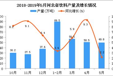 2019年1-5月河北省饮料产量为246.8万吨 同比增长4.9%
