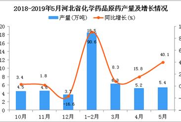 2019年5月河北省化学药品原药产量及增长情况分析
