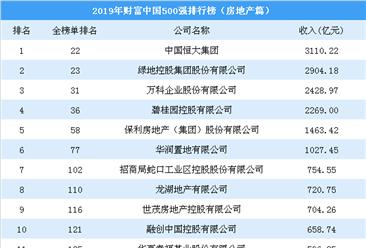 2019年财富中国500强排行榜(房地产篇):碧桂园仅第四(图)