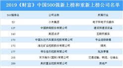 2019《財富》中國500強新上榜和重新上榜公司名單