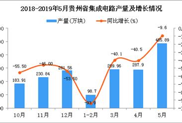 2019年1-5月贵州省集成电路产量为1491.3万块 同比下降33.9%