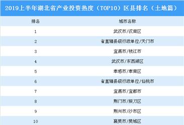 2019上半年湖北省产业投资热度(TOP10)区县排名:汉南区位居榜首(土地篇)