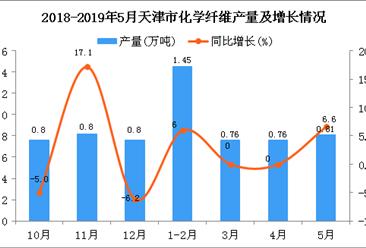 2019年1-5月天津市化学纤维产量为3.8万吨 同比增长3.6%