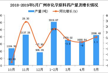 2019年1-5月广州市化学原料药产量同比增长2.7%