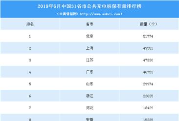 2019年上半年中国31省市公共充电桩拥有量排行榜