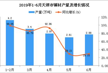 2019年1-6月天津市铜材产量及增长情况分析