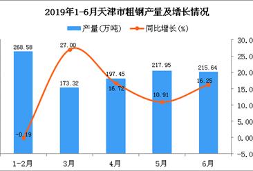 2019年1-6月天津市粗钢产量为1077.15万吨 同比增长12.58%