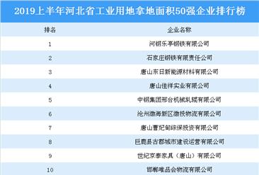 产业地产投资情报:2019上半年河北省工业用地拿地面积50强企业排行榜
