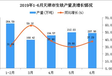 2019年1-6月天津市生铁产量及增长情况分析