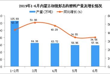 2019年1-6月内蒙古初级形态的塑料产量及增长情况分析