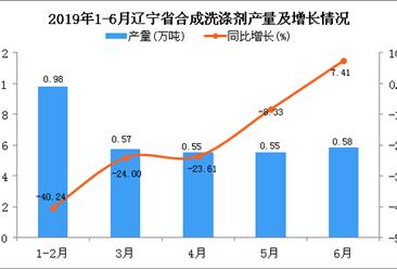 2019年1-6月辽宁省合成洗涤剂产量为3.25万吨 同比下降23.53%