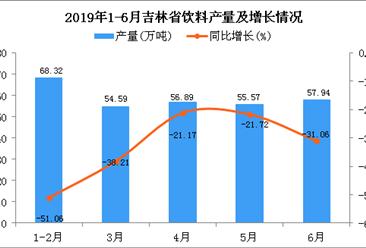 2019年1-6月吉林省饮料产量为298.25万吨 同比下降19.63%