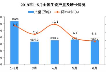 2019年1-6月全国生铁产量为40421.4万吨 同比增长7.9%