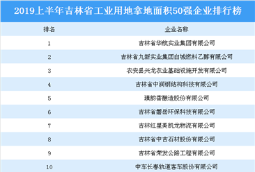 產業地產投資情報:2019上半年吉林省工業用地拿地面積50強企業排行榜