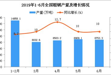 2019年1-6月全国粗钢产量为49216.9万吨 同比增长9.9%