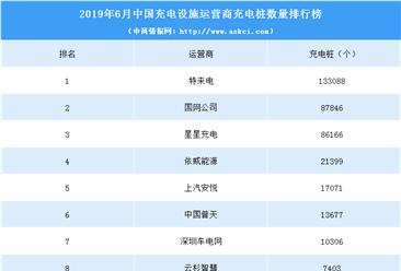 2019年6月中国充电设施运营商充电桩数量排行榜