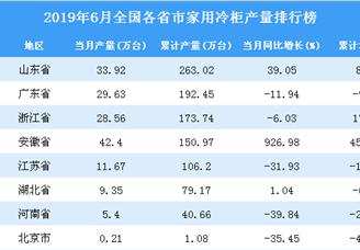 2019年6月全国各省市家用冷柜产量排行榜