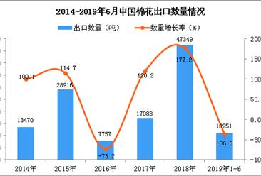 2019年1-6月中国棉花出口量同比下降36.5%