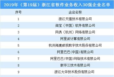 2019年(第19届)浙江省软件业务收入30强企业名单:阿里巴巴等企业上榜