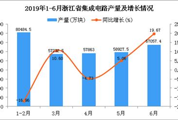2019年1-6月浙江省集成电路产量为325473.2万块 同比增长1.23%