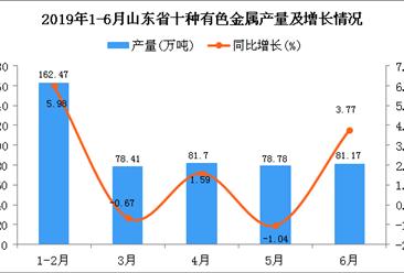 2019年1-6月山东省十种有色金属产量为482.53万吨 同比增长2.56%