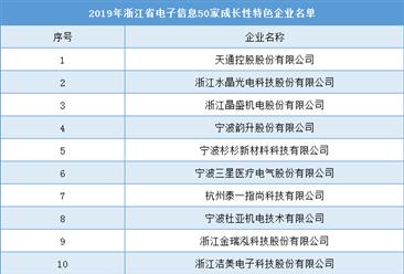 2019年浙江省电子信息50家成长性特色企业排行榜