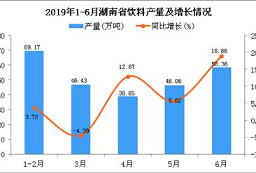 2019年上半年湖南省饮料产量为276.81万吨 同比增长9.71%