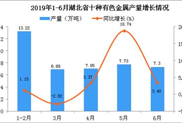 2019年上半年湖北省十种有色金属产量及增长情况分析