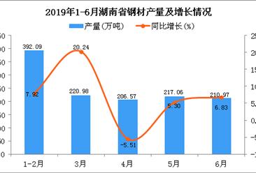 2019年上半年湖南省十种有色金属产量为72.26万吨 同比下降14.84%
