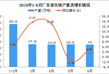 2019年上半年广东省生铁产量及增长情况分析