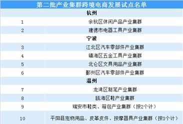 浙江省第二批产业集群跨境电商发展试点名单出炉:共34个产业集群