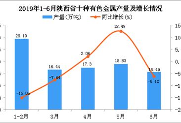 2019年上半年陕西省十种有色金属产量为98.15万吨 同比下降4.1%