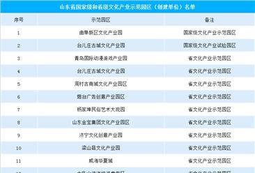 2019山东省国家级和省级文化产业示范(试验)园区/基地汇总一览(附名单)