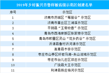 2019年乡村振兴齐鲁样板省级示范区出炉:共40个示范区(附名单)
