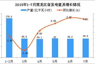 2019年1-7月黑龙江省发电量及增长情况分析