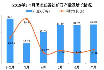 2019年1-7月黑龙江省铁矿石产量同比下降0.67%