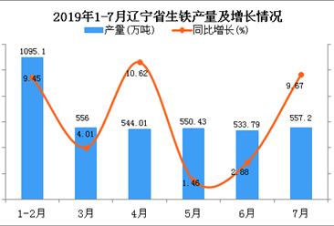 2019年1-7月辽宁省生铁产量为3836.7万吨 同比增长6.68%