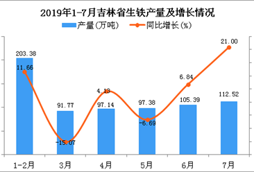2019年1-7月吉林省生铁产量为706.9万吨 同比增长21.71%