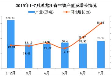 2019年1-7月黑龙江省生铁产量为464.34万吨 同比增长23.37%